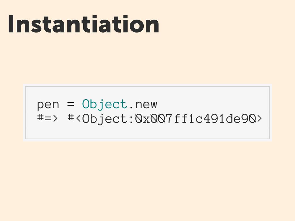 Instantiation pen = Object.new #=> #<Object:0x0...