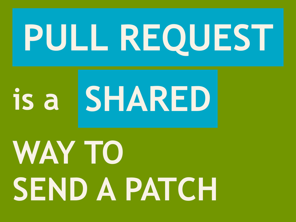 PULL REQUEST WAY TO SEND A PATCH is a SHARED