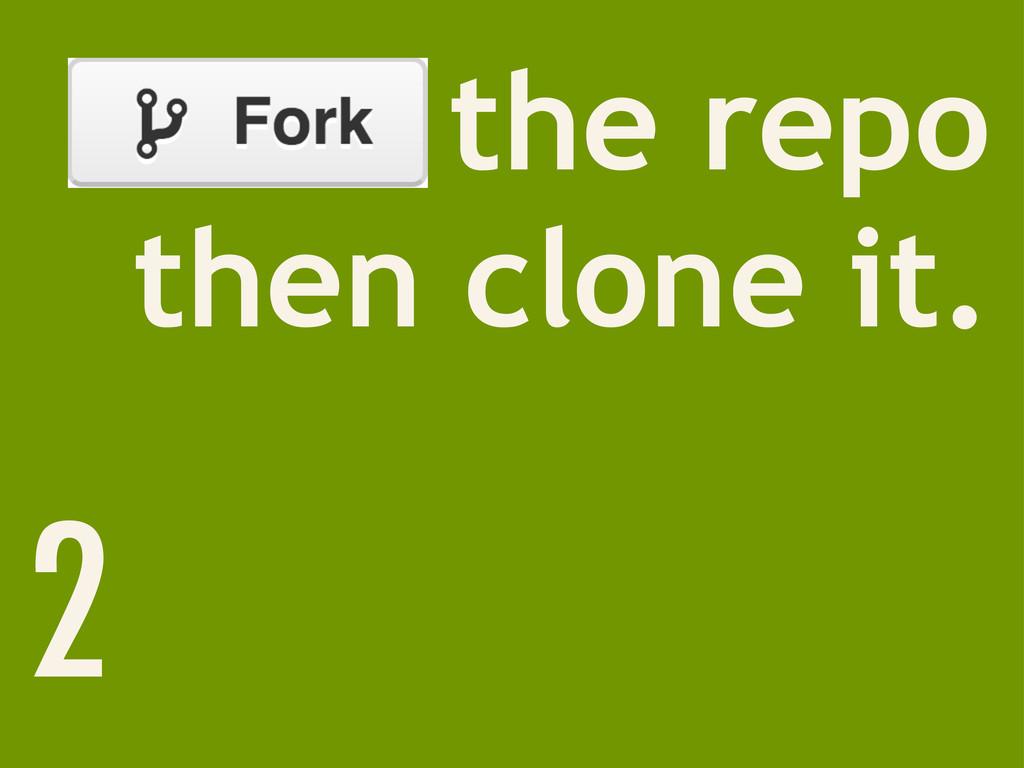 Fork the repo then clone it. 2