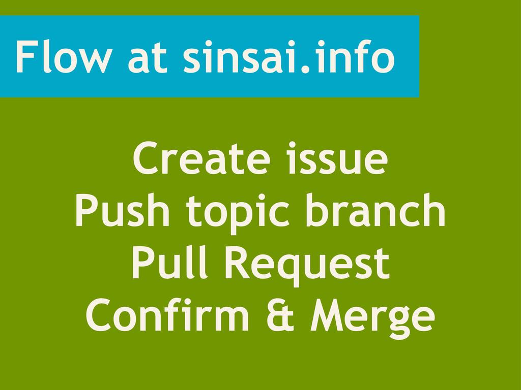 Flow at sinsai.info Create issue Push topic bra...