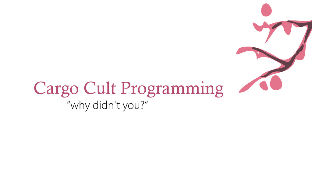 "Cargo Cult Programming ""why didn't you?"""
