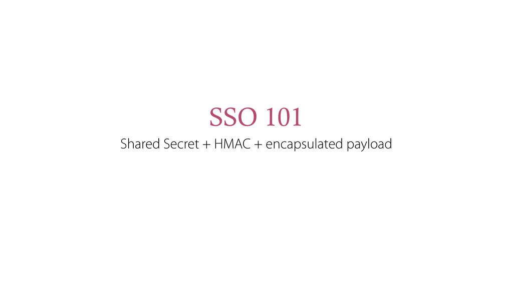 SSO 101 Shared Secret + HMAC + encapsulated pay...