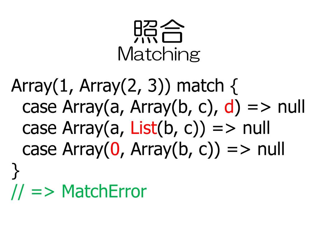 照合 Array(1, Array(2, 3)) match { case Array(a, ...