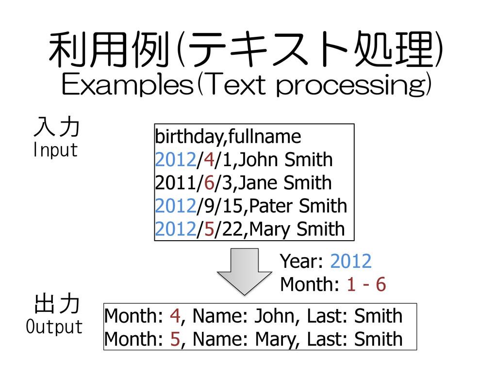 利用例(テキスト処理) birthday,fullname 2012/4/1,John Smi...