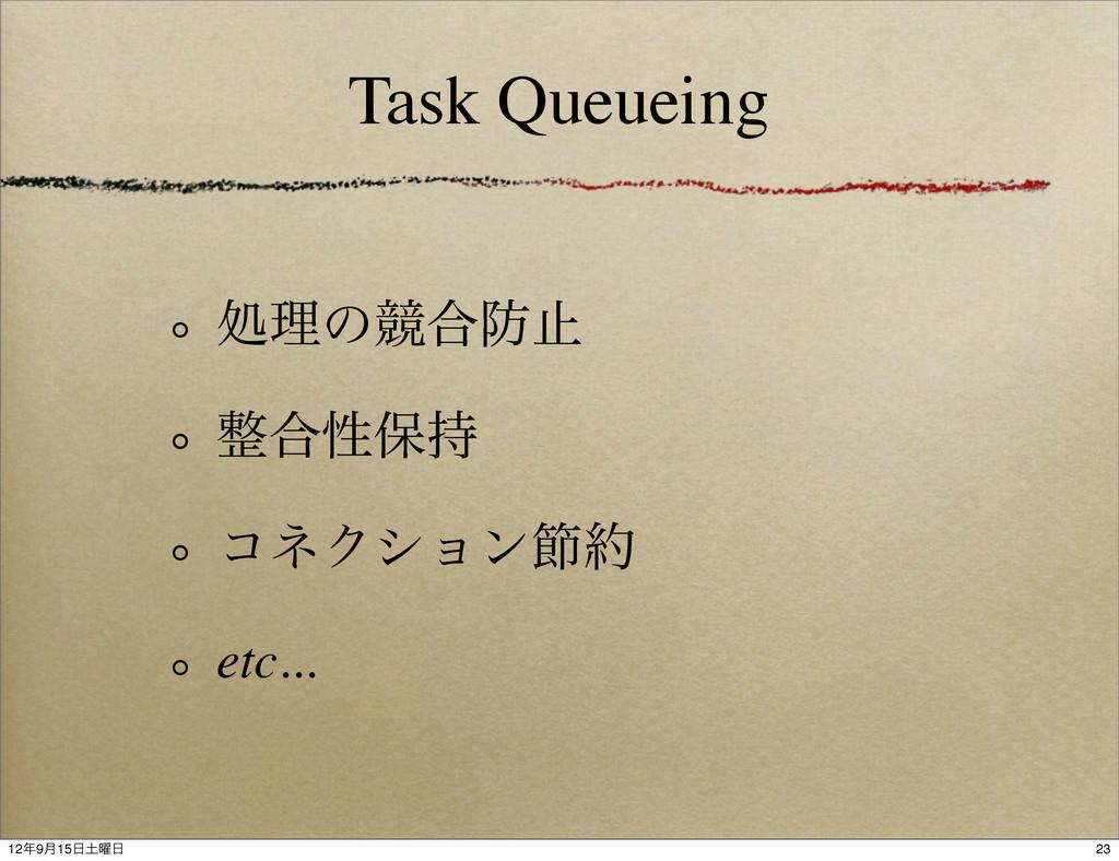 Task Queueing ॲཧͷڝ߹ࢭ ߹ੑอ ίωΫγϣϯઅ etc... 23 ...