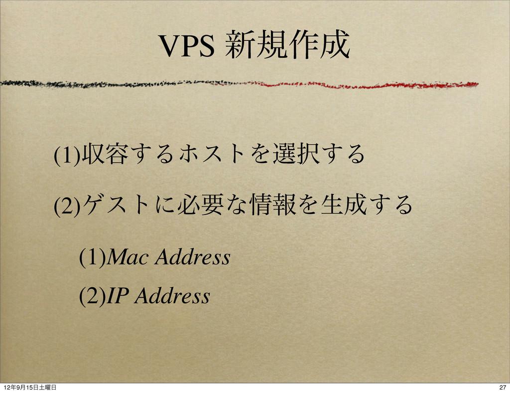 VPS ৽ن࡞ (1)ऩ༰͢ΔϗετΛબ͢Δ (2)ήετʹඞཁͳใΛੜ͢Δ (1)M...