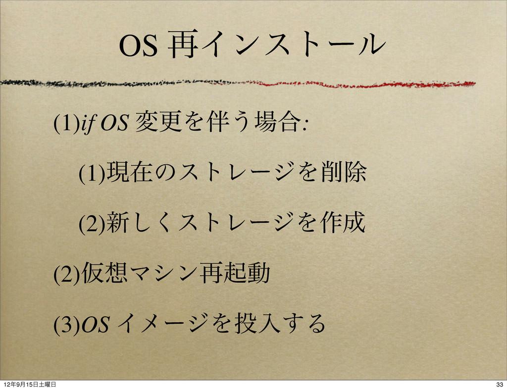 OS ࠶Πϯετʔϧ (1)if OS มߋΛ͏߹: (1)ݱࡏͷετϨʔδΛআ (2)...