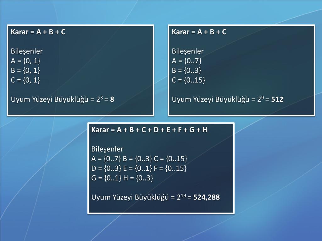 Karar = A + B + C Bileşenler A = {0, 1} B = {0,...