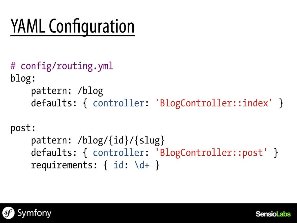 # config/routing.yml blog: pattern: /blog defau...