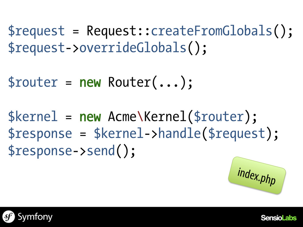 $request = Request::createFromGlobals(); $reque...