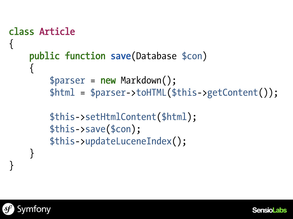 class Article { public function save(Database $...