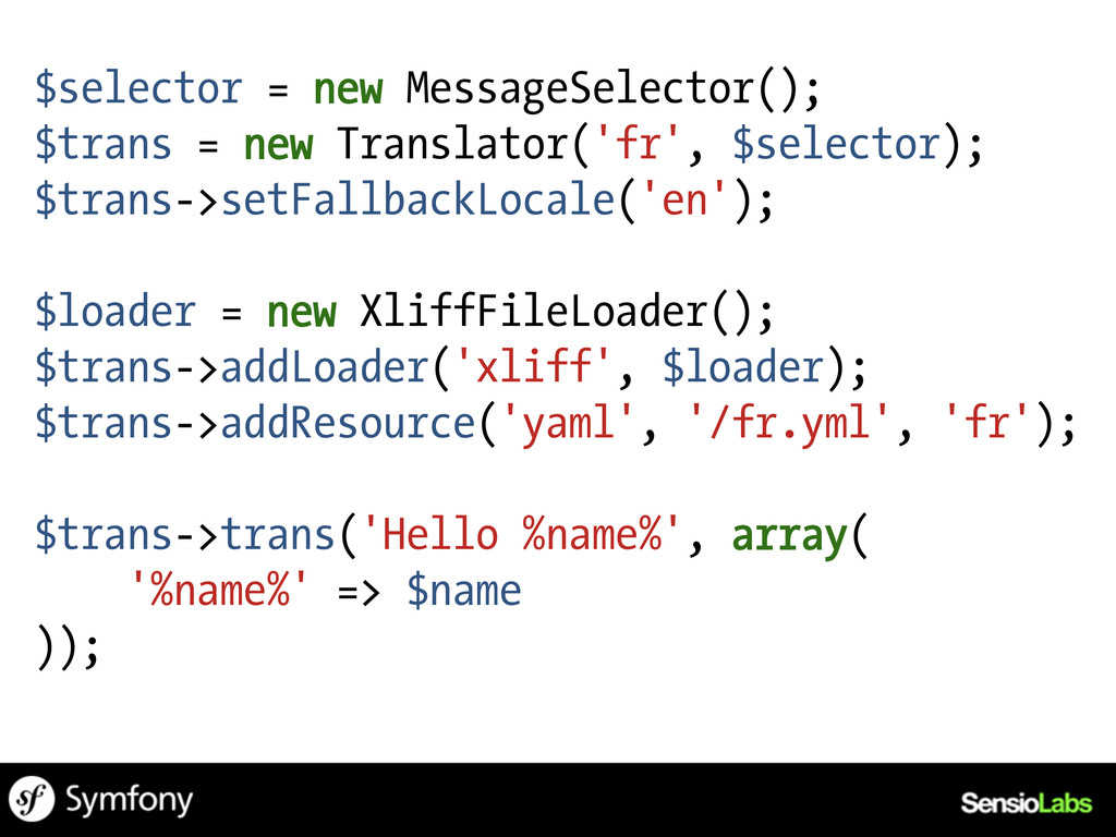 $selector = new MessageSelector(); $trans = new...