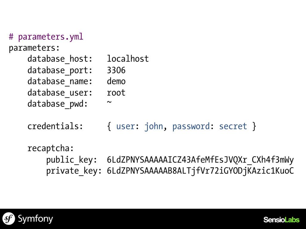# parameters.yml parameters: database_host: loc...