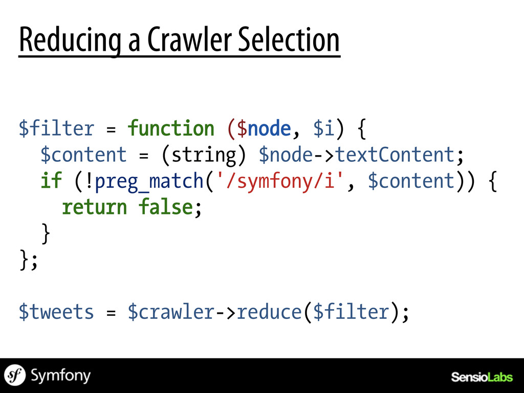 $filter = function ($node, $i) { $content = (st...