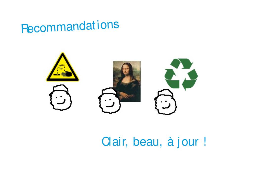 Recommandations Clair, beau, à jour !
