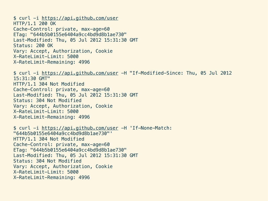 $ curl -i https://api.github.com/user HTTP/1.1 ...