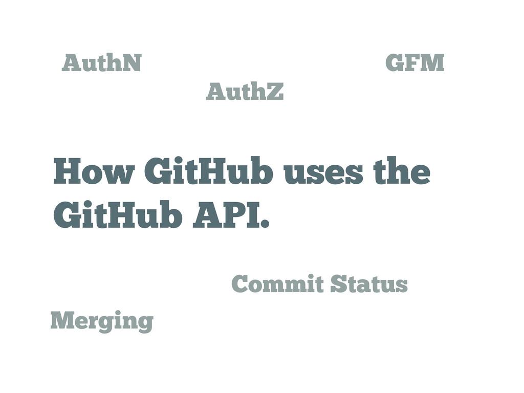 How GitHub uses the GitHub API. AuthN AuthZ Mer...