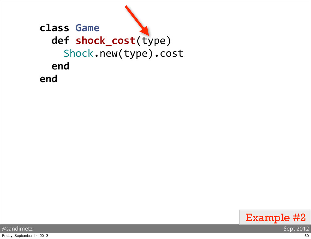 @sandimetz Sept 2012 Example #2 class Game ...
