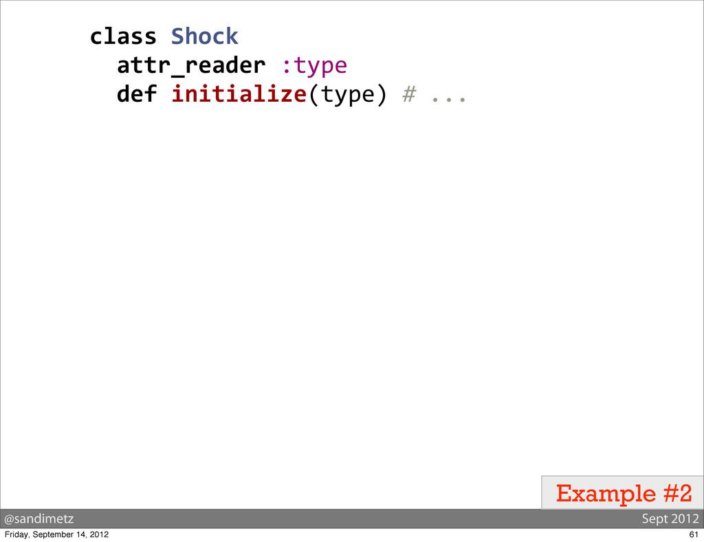 @sandimetz Sept 2012 Example #2 class Shock ...
