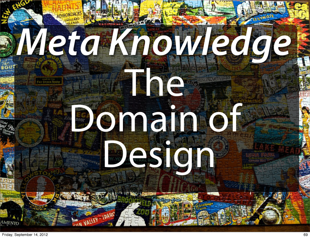 Meta Knowledge The Domain of Design 69 Friday, ...