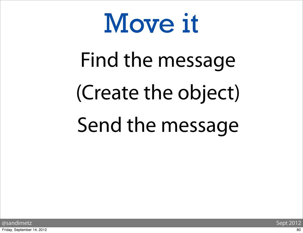 @sandimetz Sept 2012 Move it Find the message (...