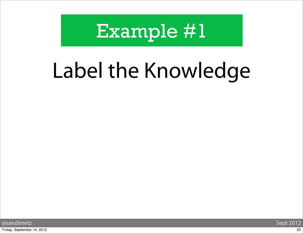 @sandimetz Sept 2012 Example #1 Label the Knowl...