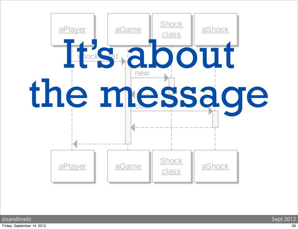 @sandimetz Sept 2012 It's about the message 39 ...