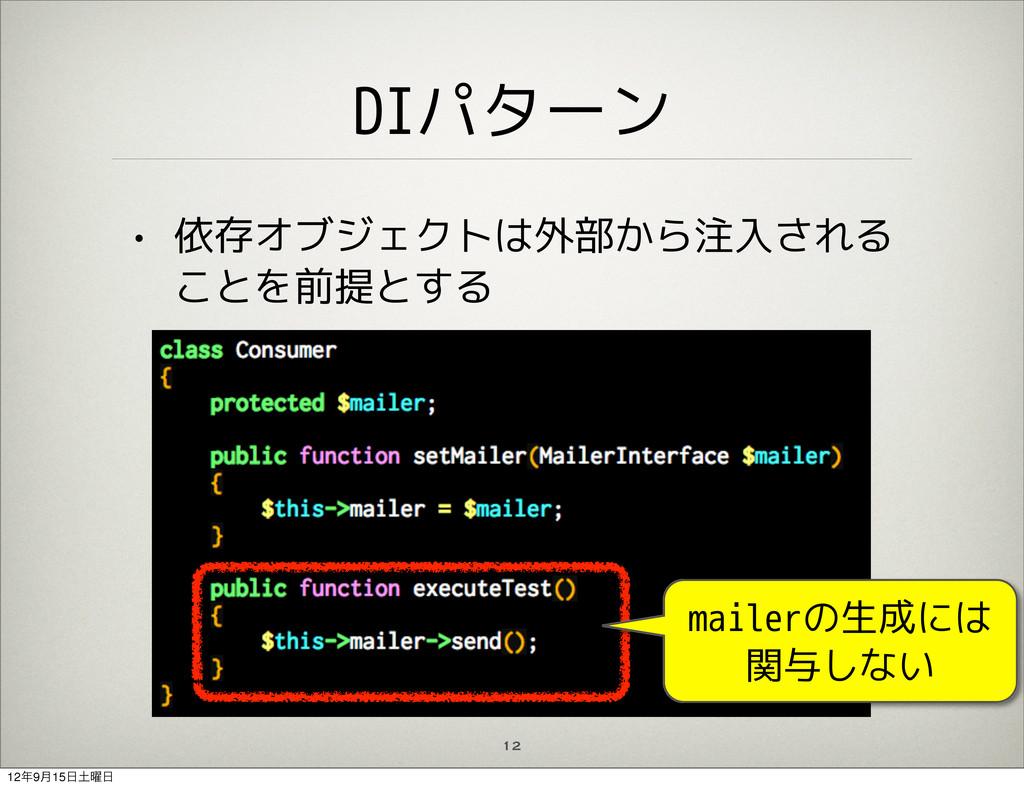 DIパターン • 依存オブジェクトは外部から注入される ことを前提とする 12 注入 mail...