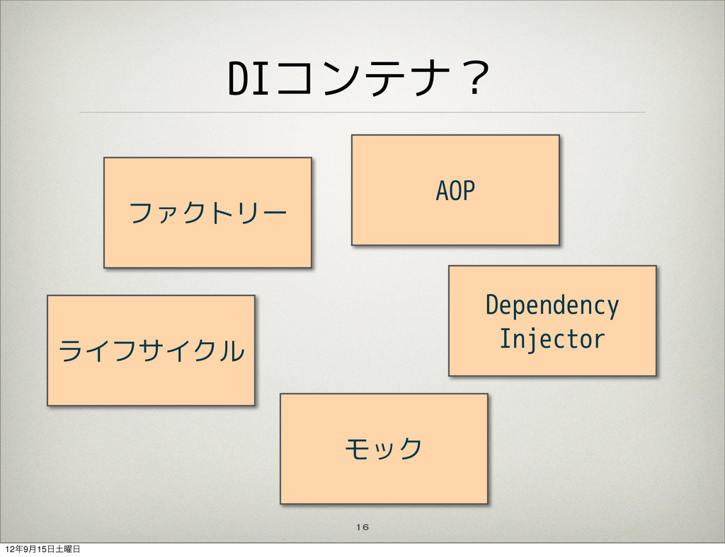 DIコンテナ? 16 ファクトリー ライフサイクル モック Dependency Inject...