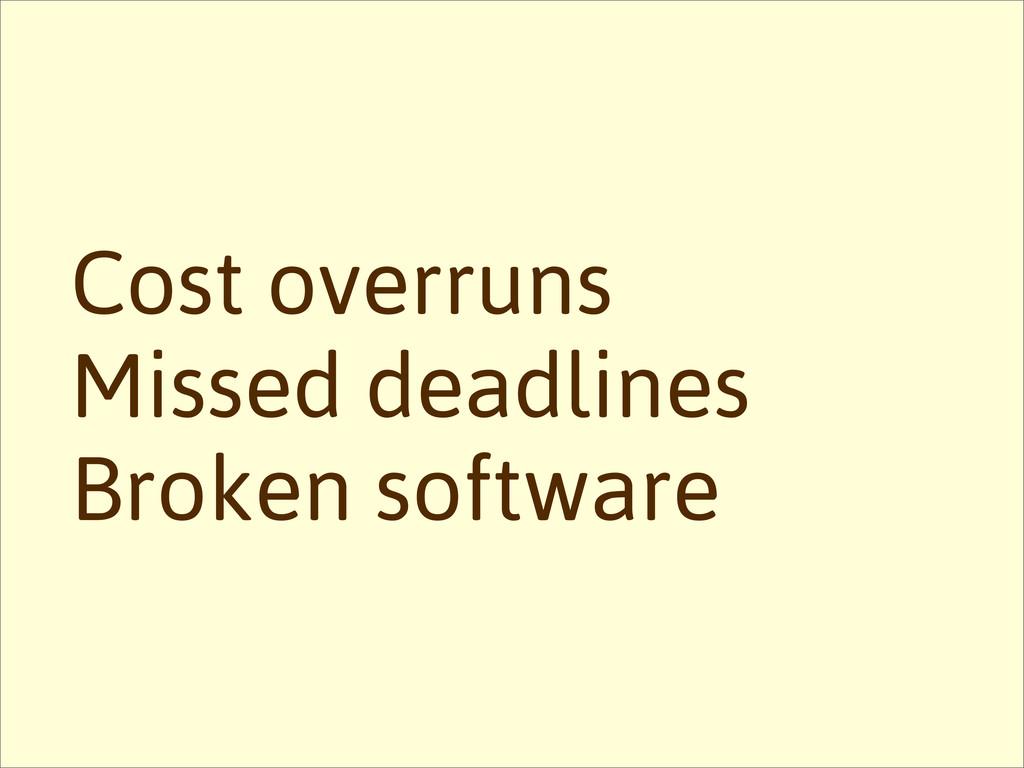 Missed deadlines Cost overruns Broken software