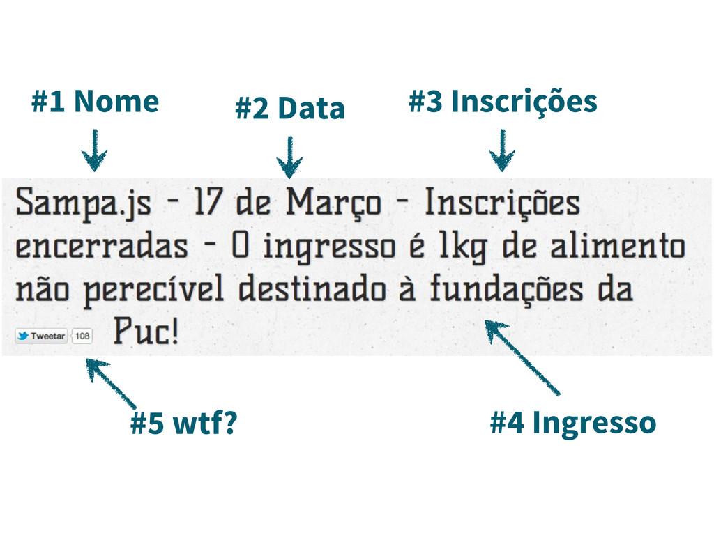 #1 Nome #4 Ingresso #3 Inscrições #2 Data #5 wt...
