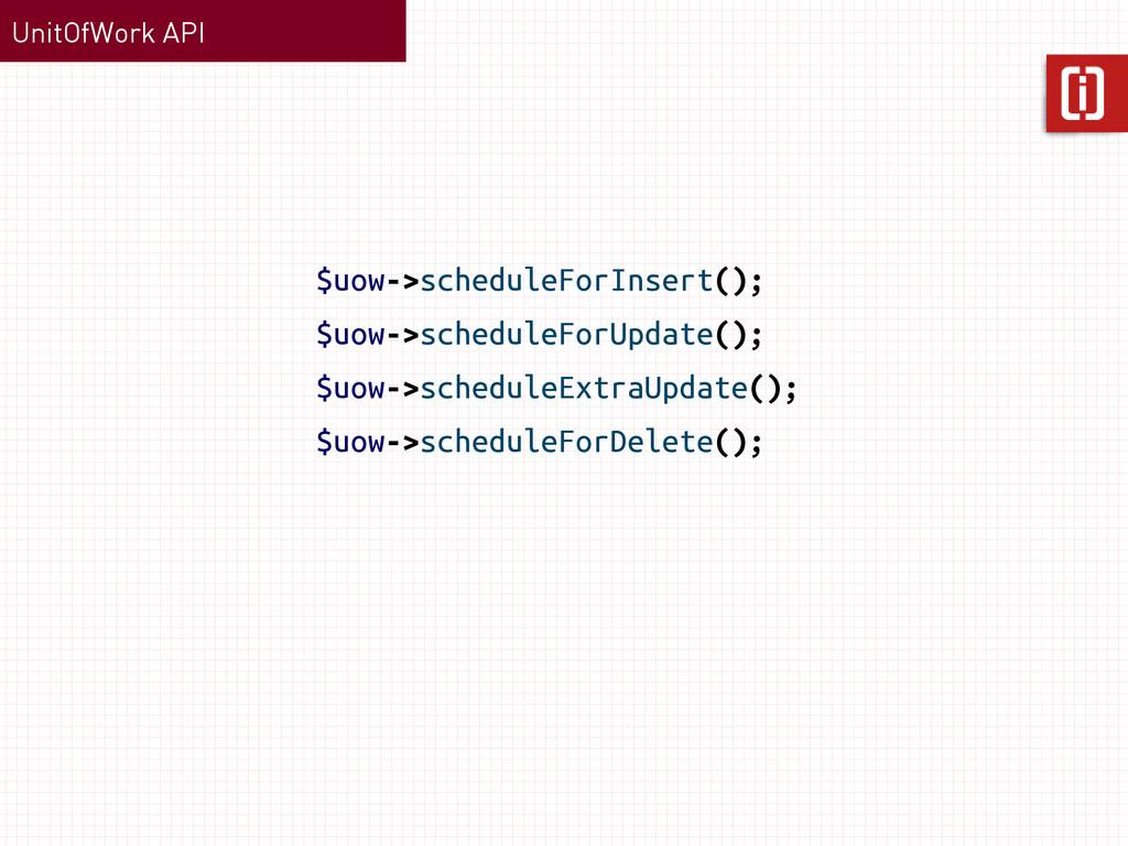 UnitOfWork API $uow->scheduleForInsert(); $uow-...