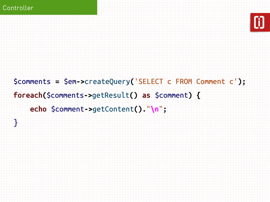 $comments = $em->createQuery('SELECT c FROM Com...