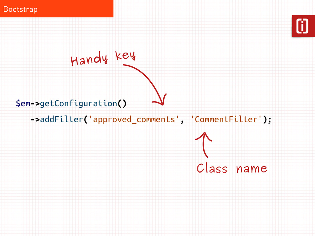 $em->getConfiguration() ->addFilter('approved_c...