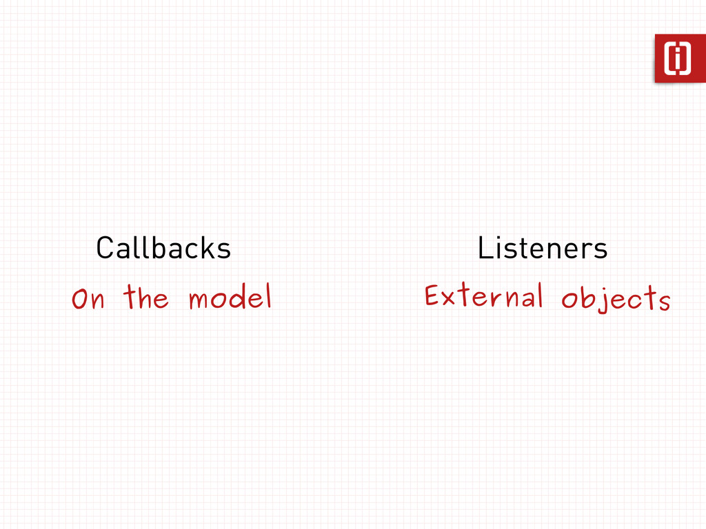 Callbacks Listeners On the model External objec...
