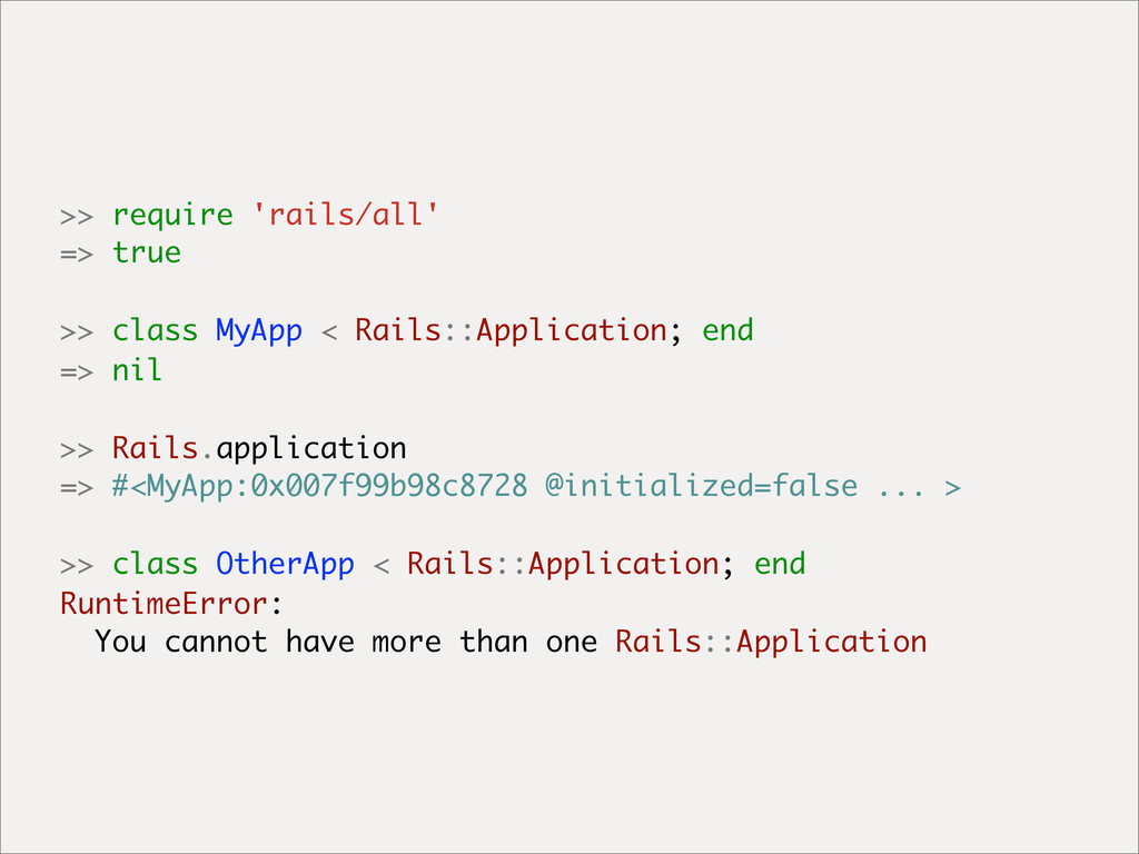 >> require 'rails/all' => true >> class MyApp <...