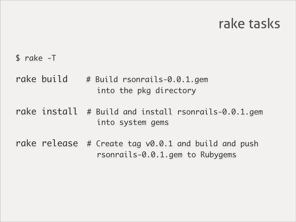 $ rake -T rake build # Build rsonrails-0.0.1.ge...