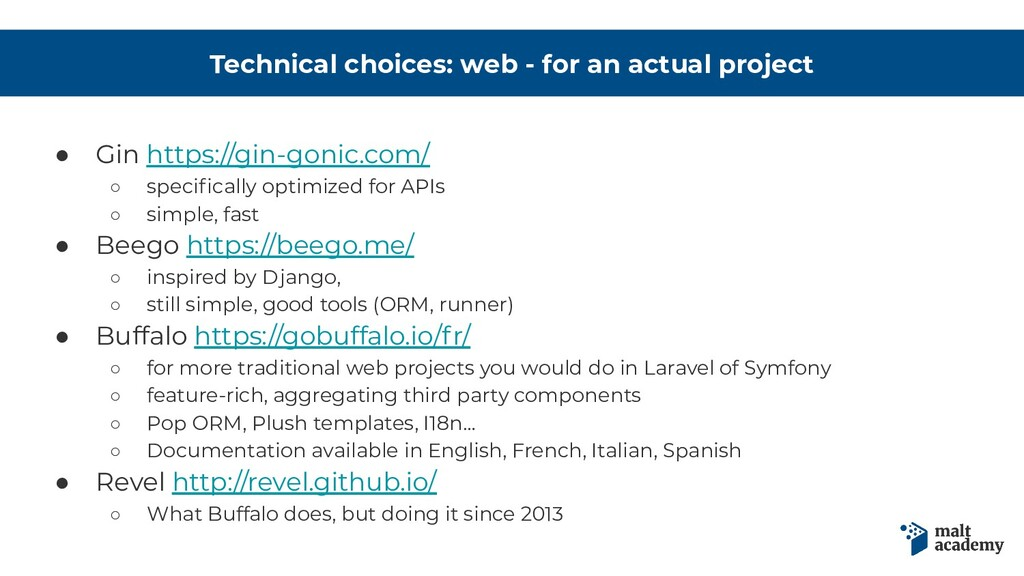 Technical choices: web - for an actual project ...