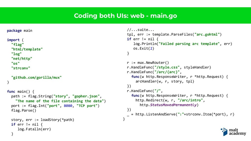 Coding both UIs: web - main.go package main imp...