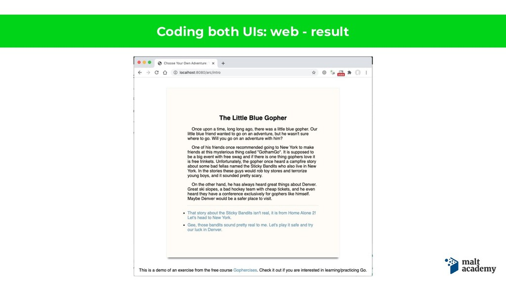 Coding both UIs: web - result