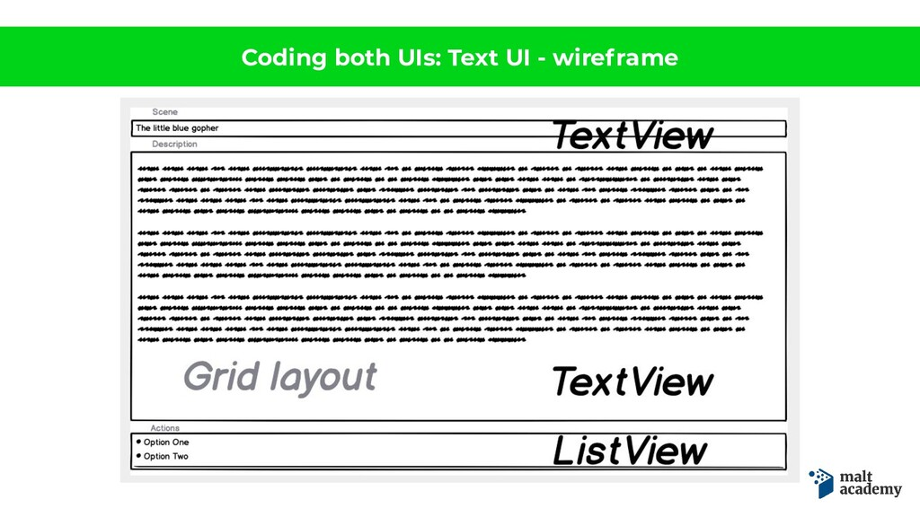 Coding both UIs: Text UI - wireframe