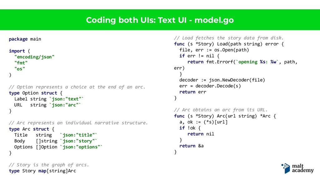 Coding both UIs: Text UI - model.go package mai...