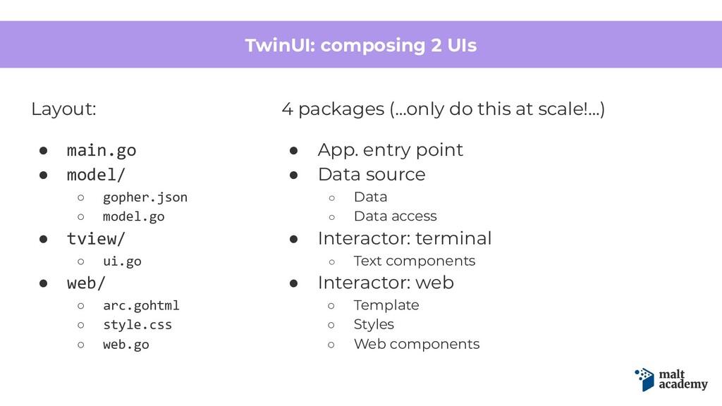TwinUI: composing 2 UIs Layout: ● main.go ● mod...