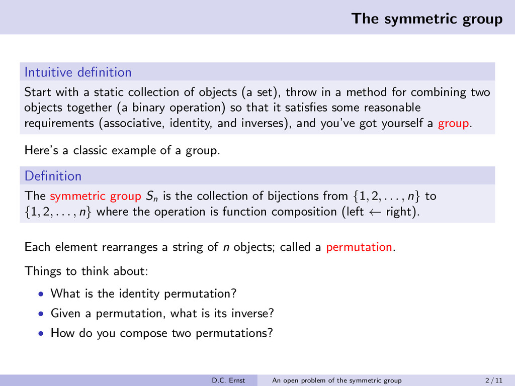 The symmetric group Intuitive definition Start w...