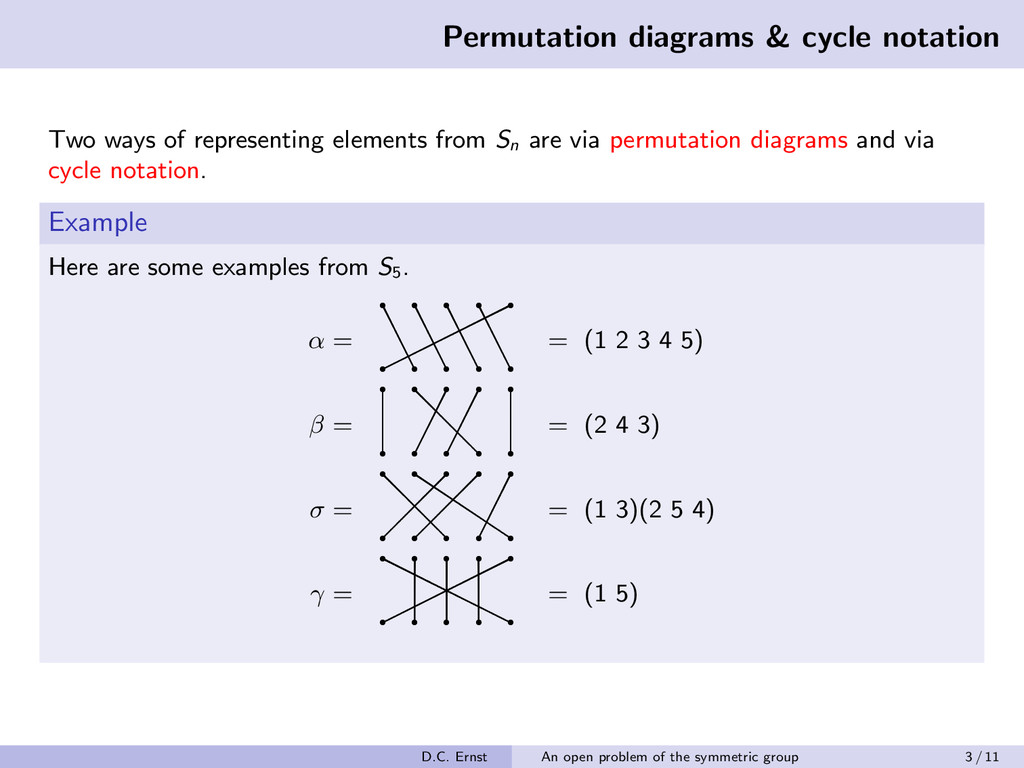 Permutation diagrams & cycle notation Two ways ...