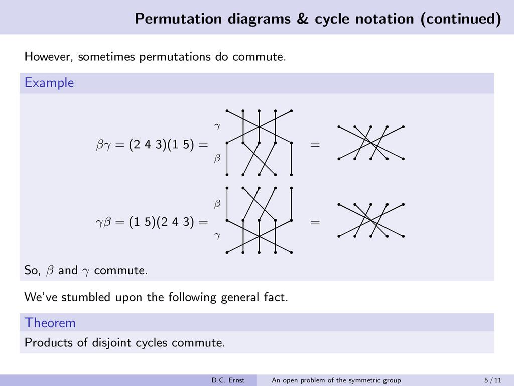 Permutation diagrams & cycle notation (continue...