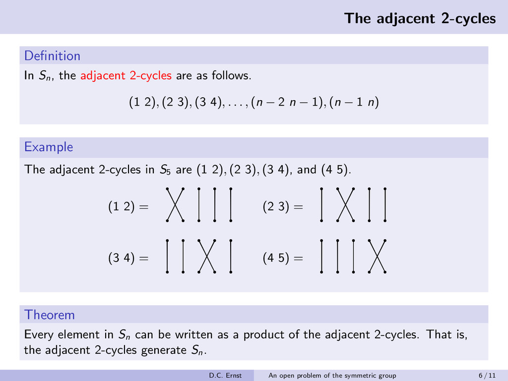 The adjacent 2-cycles Definition In Sn , the adj...