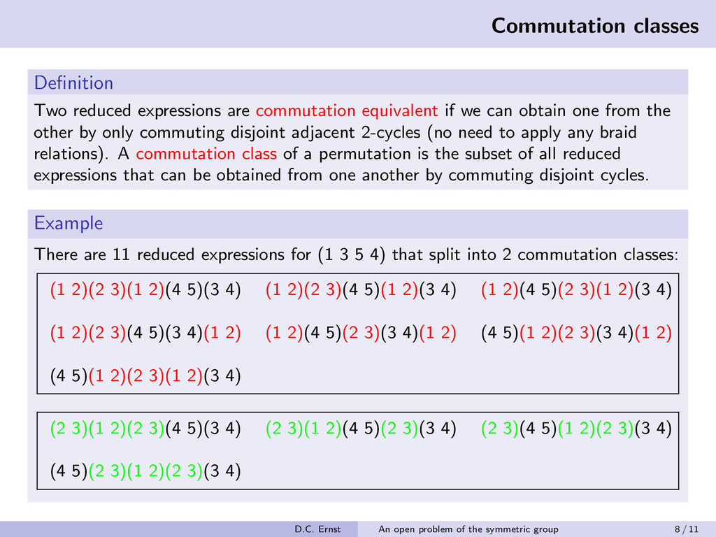 Commutation classes Definition Two reduced expre...