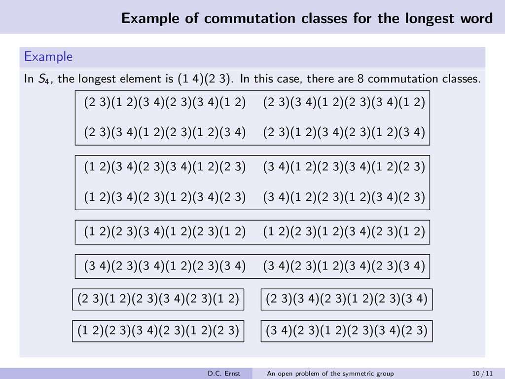 Example of commutation classes for the longest ...