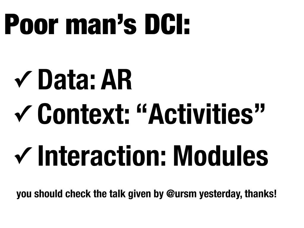 """✓ Data: AR ✓ Context: """"Activities"""" ✓ Interactio..."""